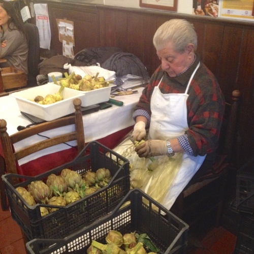 Trimming Artichokes at Da Giggetto